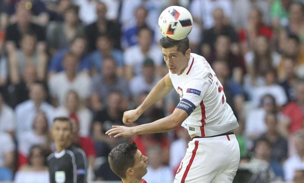 Robert Lewandowski na meczu Polska - Szwajcaria
