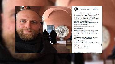 Piotr Adamczyk na planie serialu 'Imię róży'