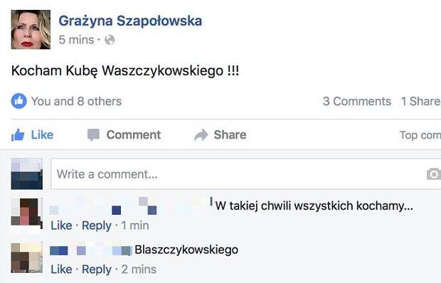 Wpis Grażyny Szapołowskiej