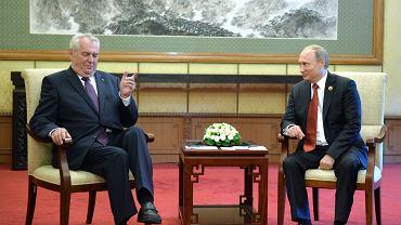 Prezydent Władimir Putin podczas spotkania z prezydentem Czech Miloszem Zemanem, 3 września 2015, Pekin.