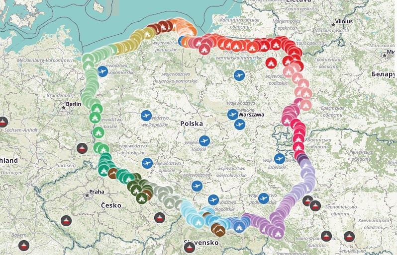 Mapa akcji 'Różaniec do granic'