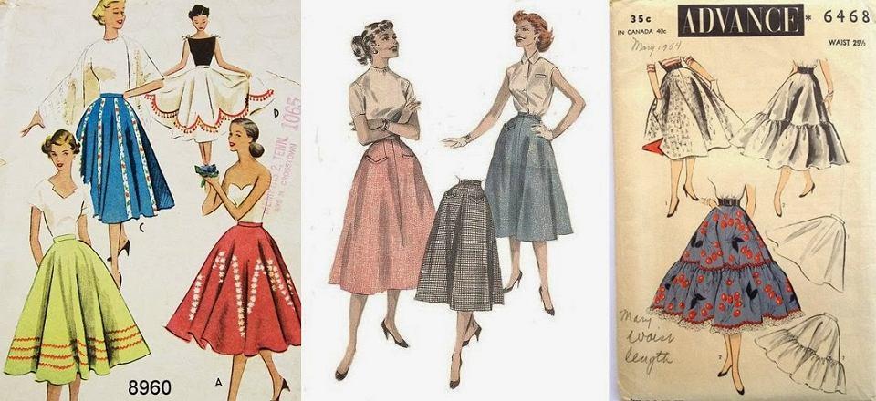 rozkloszowane spódnice z lat 50.