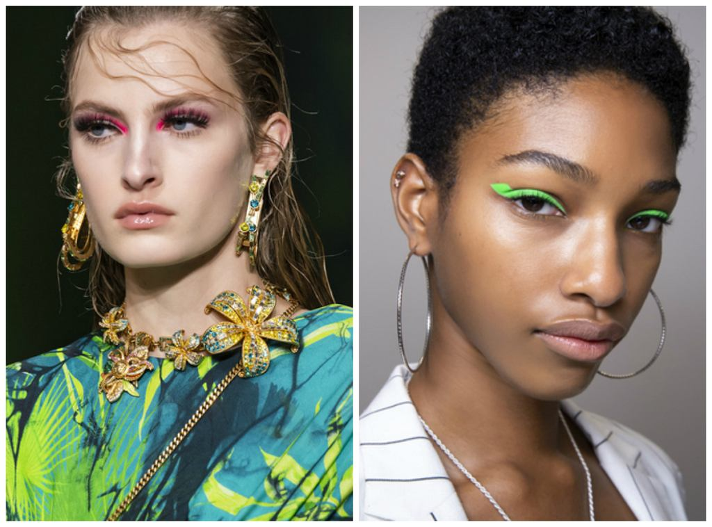 Od lewej: makijaż z pokazu Versace SS2020, Helmut Lang 2020