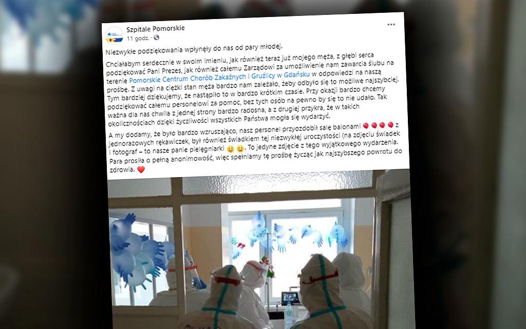Ślub na oddziale Pomorskiego Centrum Chorób Zakaźnych i Gruźlicy w Gdańsku