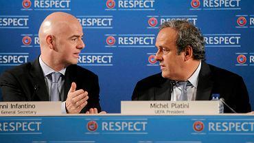 sekretarz generalny UEFA Gianni Infantino i prezydent UEFA Michel Platini