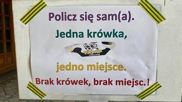 Wodzisław Śląski. 'Krówkomat' przed wejściem do kościoła