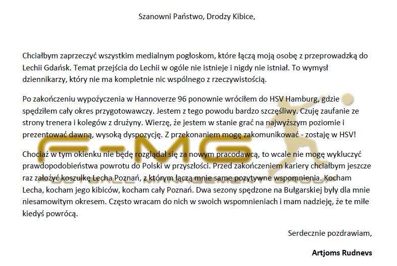 pismo Artjomsa Rudnevsa