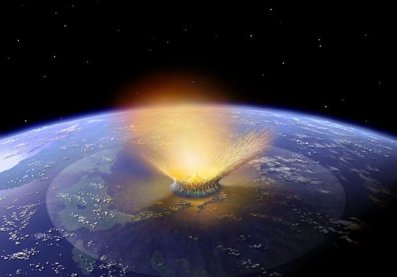 Wizja artystyczna uderzenia planetoidy w Ziemię 66 mln lat temu