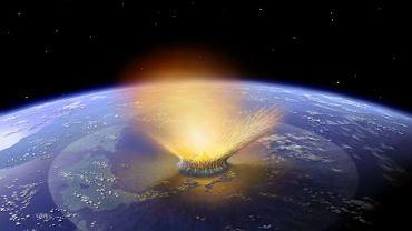 Wizja artystyczna zderzenia asteroidy z powierzchnią Ziemi.