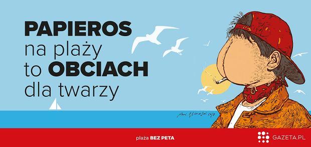 Plakat Andrzeja Pągowskiego do akcji 'Plaża bez peta' (CLP)