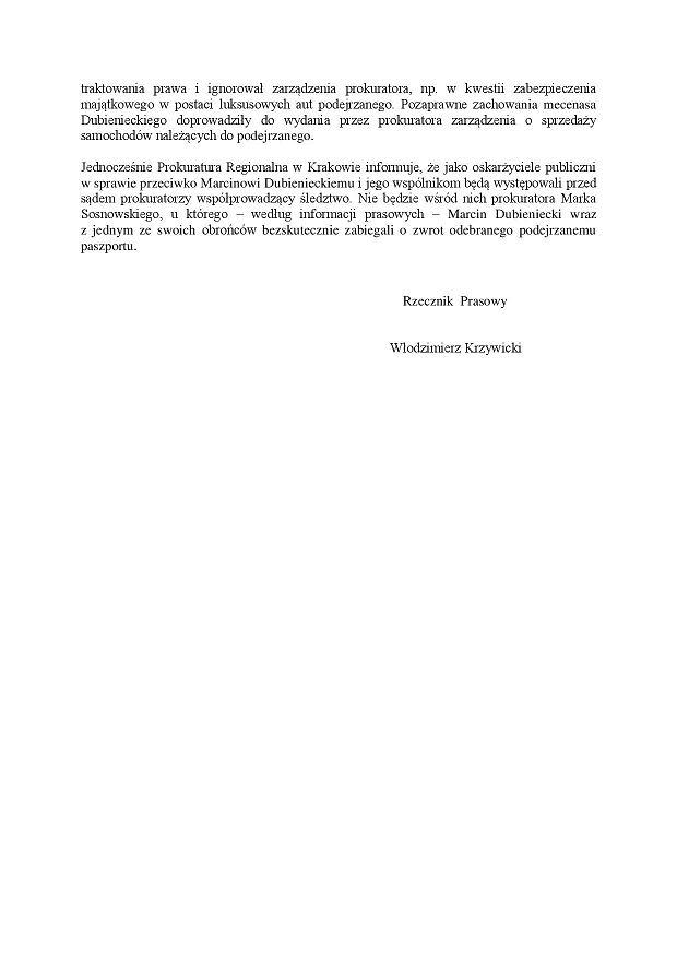 Komunikat prokuratury ws. Dubienieckiego (str.2)