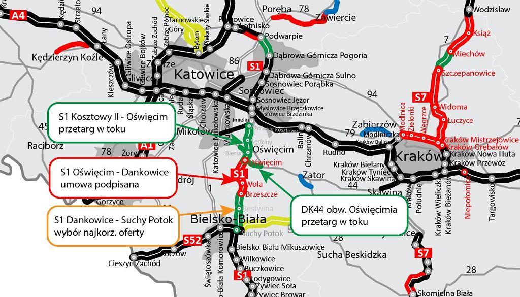 Droga ekspresowa S1, Dankowice - Suchy Potok