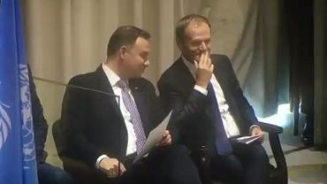 Nagrali rozmowę Donalda Tuska i Andrzeja Dudy w Nowym Jorku