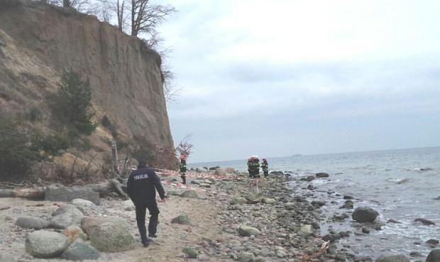 Osunął się klif na plaży w Gdyni Orłowie