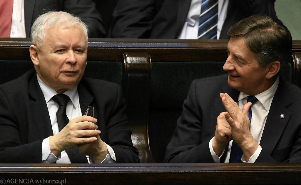 Prezes PiS Jarosław Kaczyński i marszałek Sejmu Marek Kuchciński