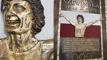 Tablica upamiętniająca Irenę Szewińską w szkole w Łomiankach