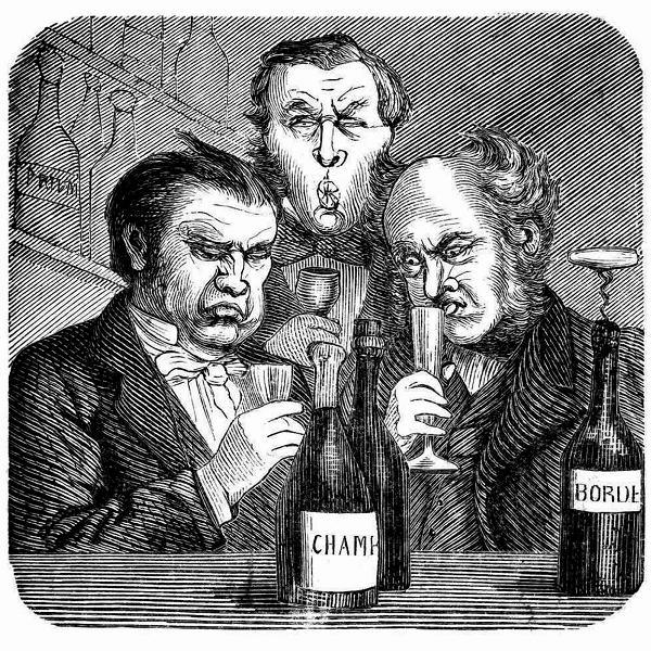Trójka snobów wybrzydza nad winem. Rycina nieznanego artysty ze szwedzkiego tygodnika