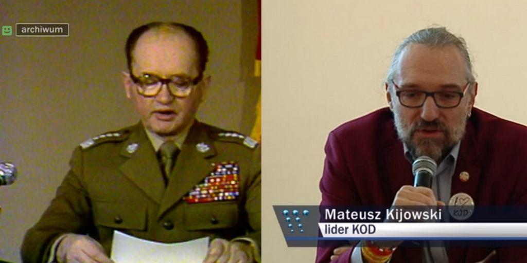 Przemówienie gen. Jaruzelskiego i wystąpienie Mateusza Kijowskiego w materiale 'Wiadomości'