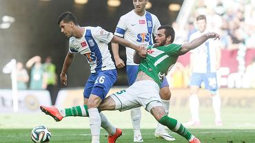 Zaur Sadajew i Darko Jevtić w meczu Lechia Gdańsk - Lech Poznań 1:2