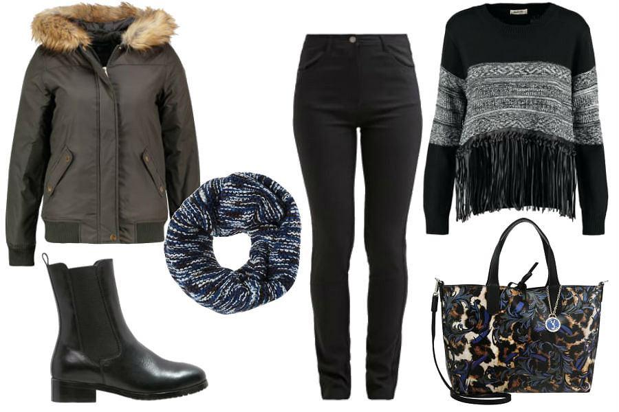fot. materiały partnera, gruby sweter, czarne spodnie, duża torba