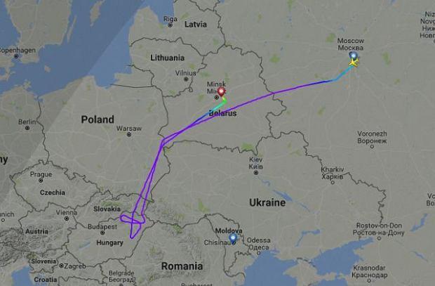 Trasa samolotu linii lotniczej S7.
