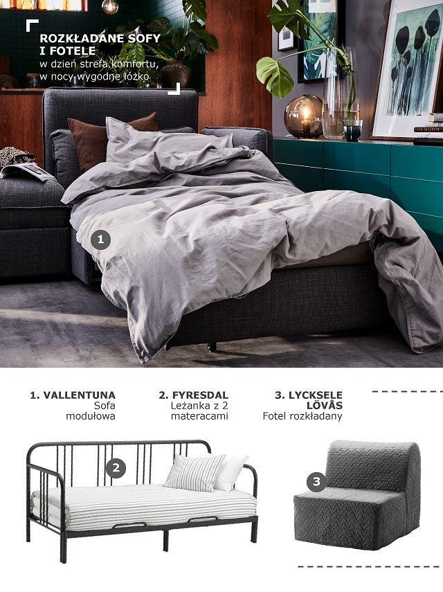 Rozkładany fotel i leżanka w salonie
