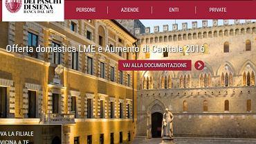 Strona internetowa banku Monte dei Paschi di Siena.