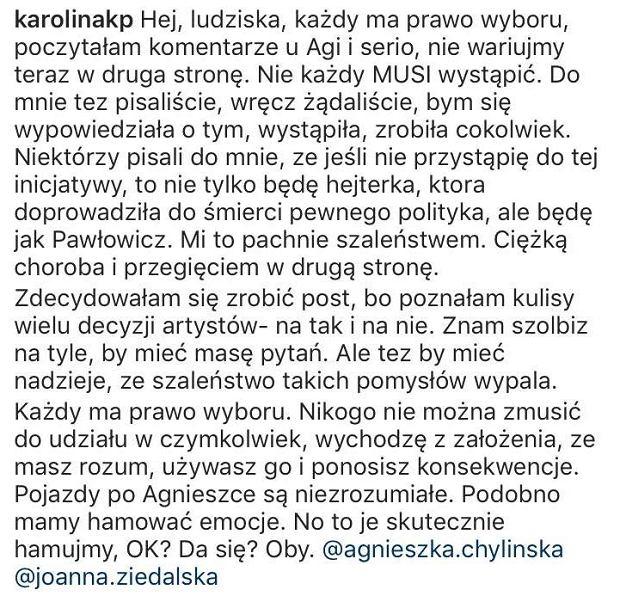 Karolina Korwin-Piotrowska broni Agnieszki Chylińskiej