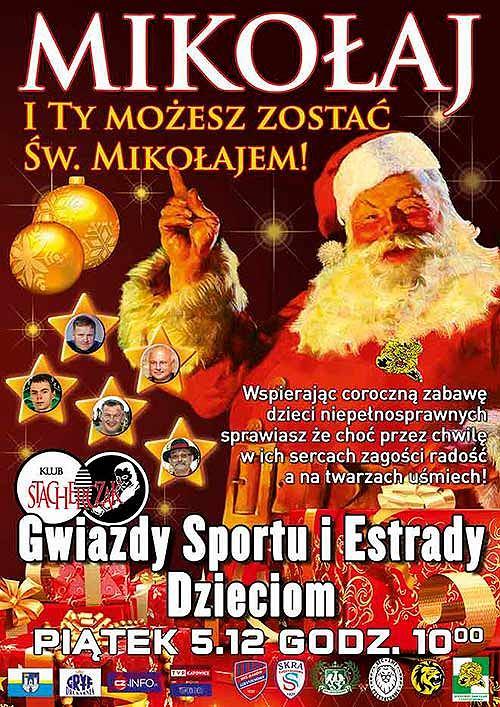 Zaproszenie na Mikołajki 'Gwiazdy Sportu i Estrady dzieciom'