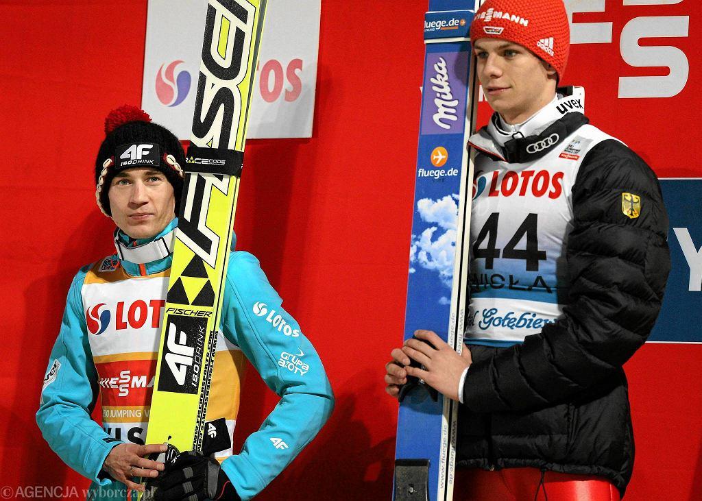 Kamil Stoch i Andreas Wellinger - podczas PŚ w Wiśle w roku 2014