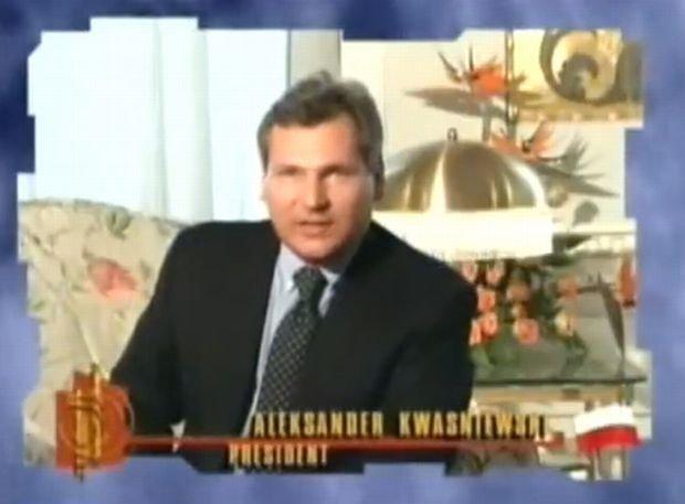 Aleksander Kwaśniewski w filmie zapowiadającym Kasię Kowalską na Eurowizji w 1996