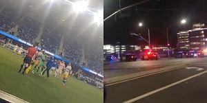 Skandaliczne sceny podczas meczu! Kibic uderzył piłkarza, padły strzały [WIDEO]