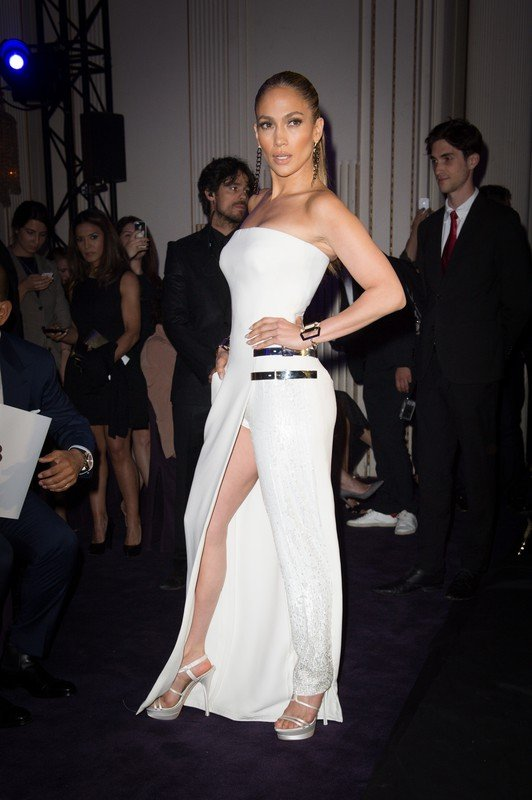 Jennifer Lopez attends the Versace Atelier Autumn-Winter 2014-2015 fashion show during Paris Haute Couture Fashion Week in Paris, France on July 6, 2014. Photo by Nicolas Gouhier/ABACAPRESS.COM