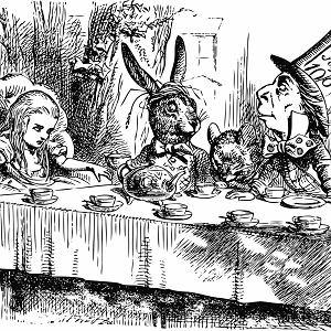 Alicja w Krainie Czarów i herbatka u Szalonego Kapelusznika na rycinie Johna Tenniela