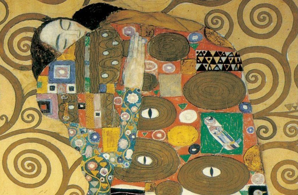 Reprodukcja obrazu 'Abbraccio' Gustava Klimta.