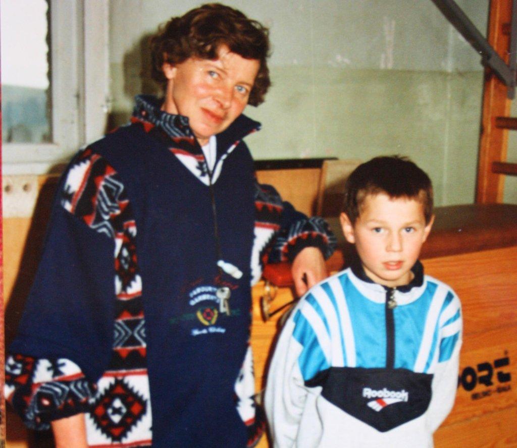 Jadwiga Staszel i młody Kamil Stoch