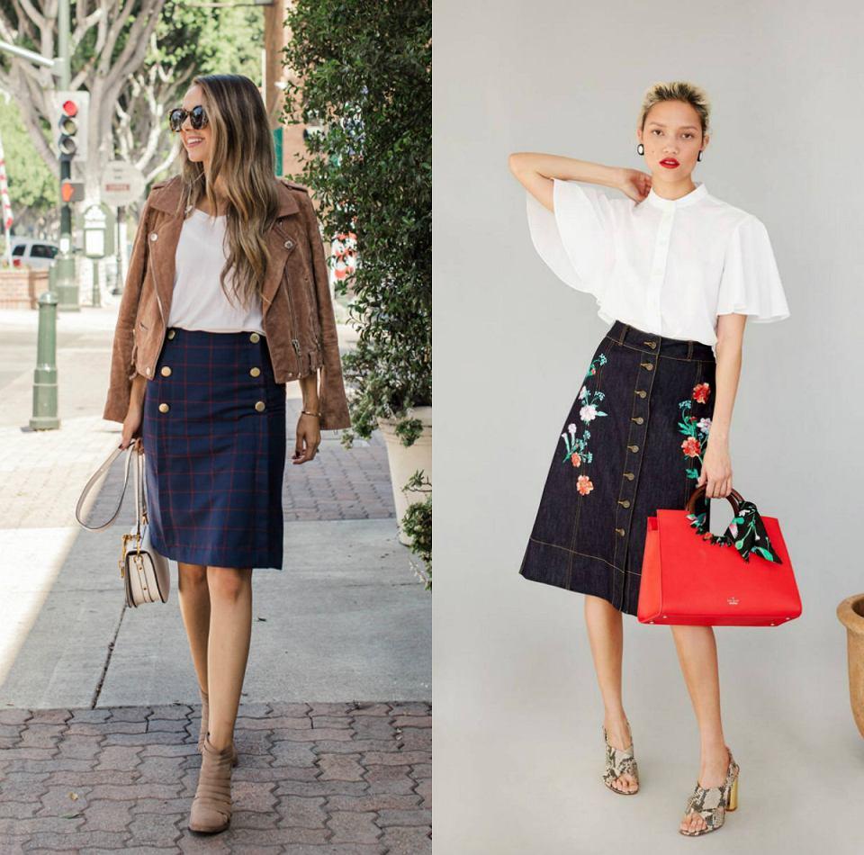 modne i stylowe stylizacje ze spódnicami z dodatkiem guzików
