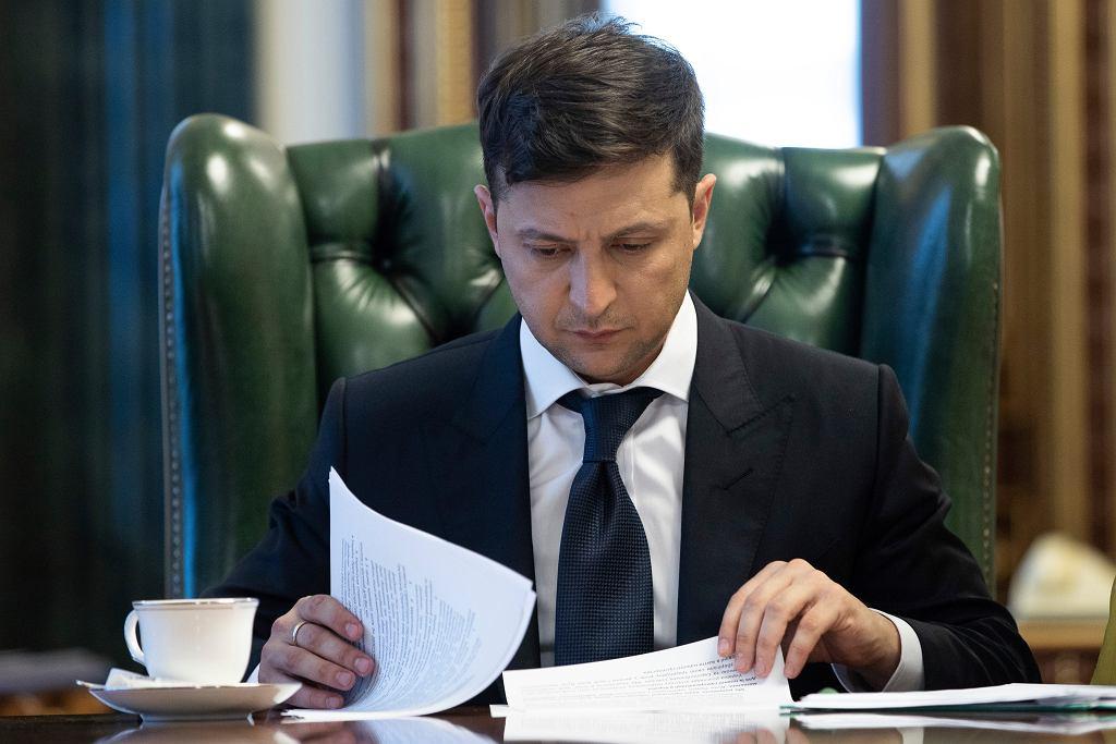 Prezydent Ukrainy Wołodymyr Zełenski w swoim gabinecie. Kijów, 20 maja 2019