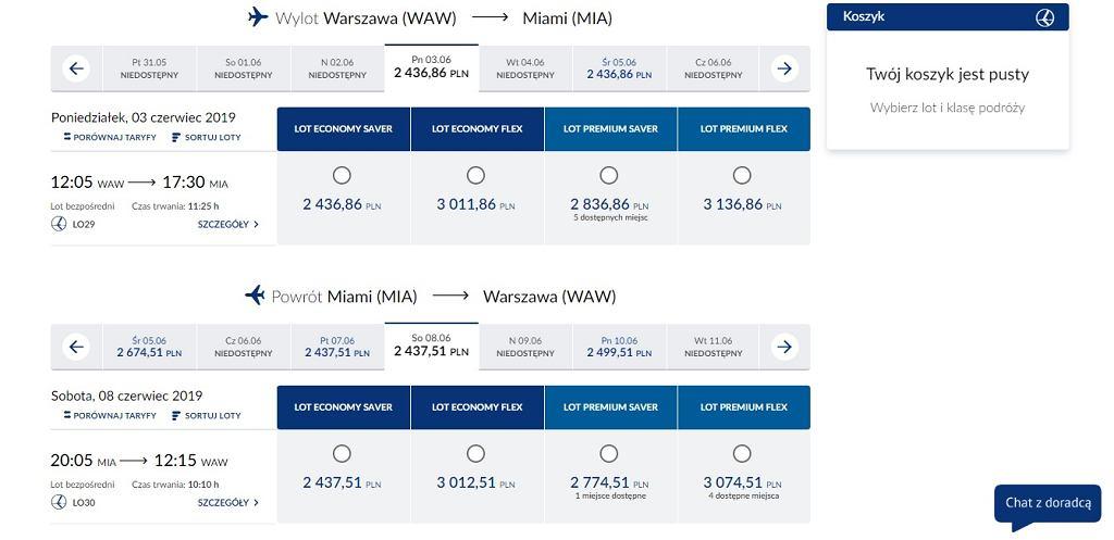 Przykładowa rezerwacja na bezpośredni lot na trasie Warszawa - Miami