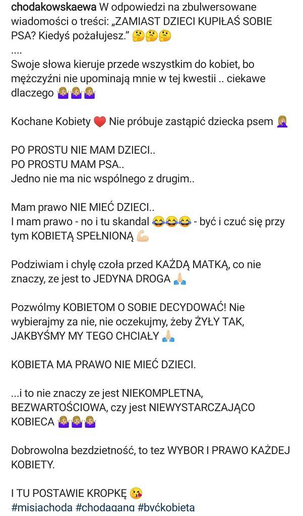 Ewa Chodakowska pytana o dziecko