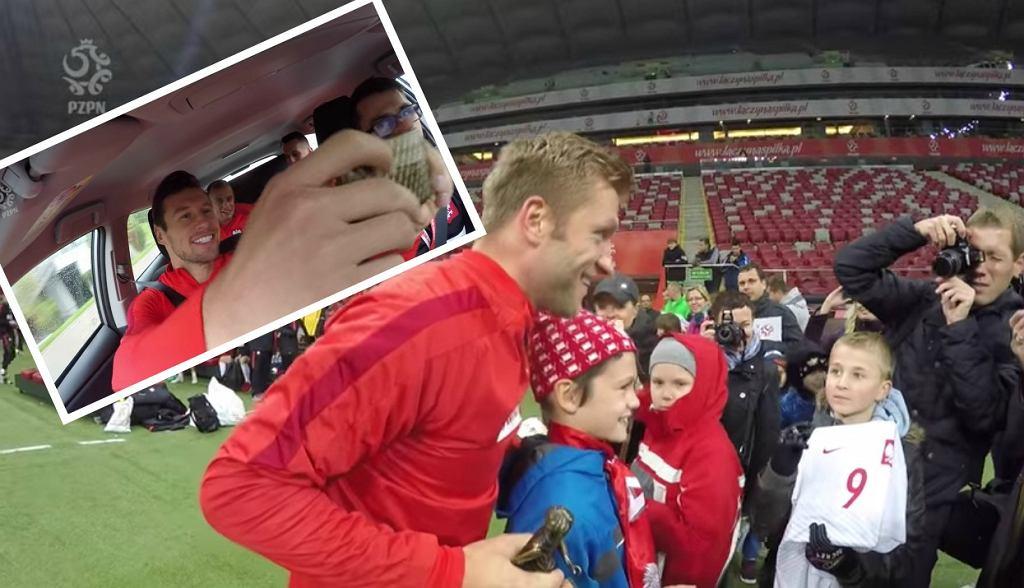 Piłkarze przed meczem Polska - Dania