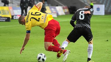 Bartosz Rymaniak i Szymon Pawłowski podczas meczu Korona Kielce - Zagłębie Sosnowiec 3:1