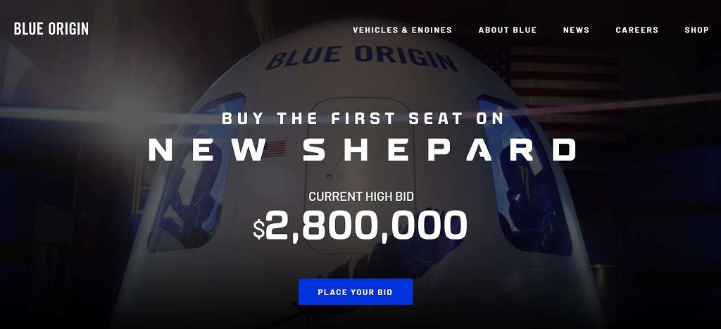 Licytacja wolnego miejsca na pokładzie kapsuły Blue Origin