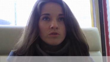 """Bohaterka nagrania """"I am a Ukrianian"""" podczas rozmowy z reporterem TOK FM"""