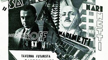 Plakat reklamujący kolację futurystyczną w turyńskiej La Taverna del Santopalato (8 marca 1931 r.)