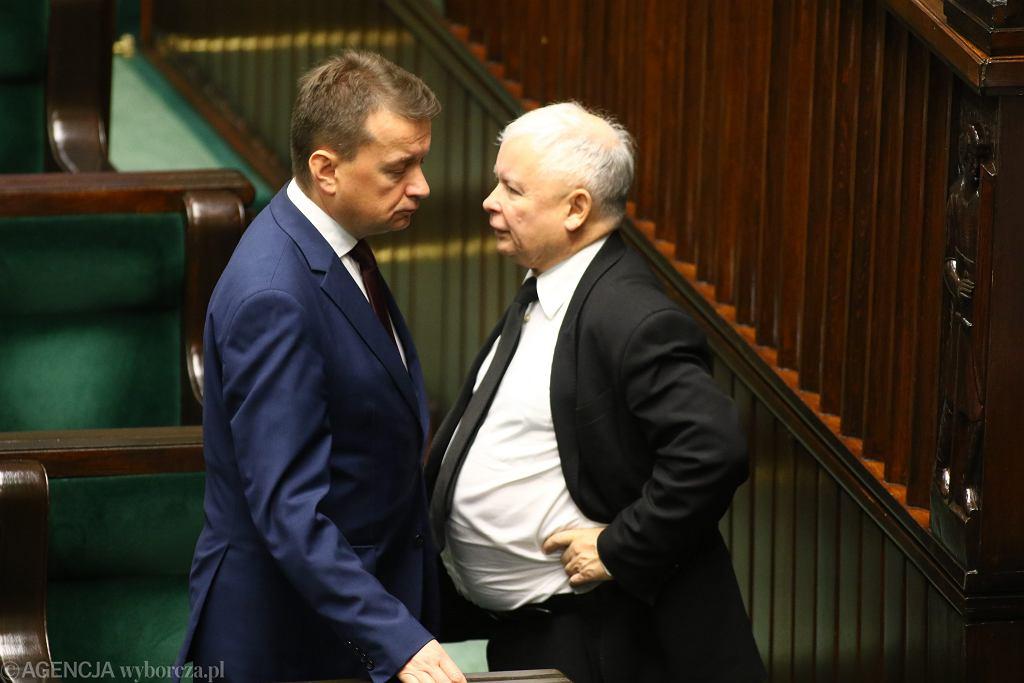 Rozmowa Kaczyńskiego z Błaszczakiem, który w PiS ma ksywę 'Domofon prezesa', wrzesień 2017