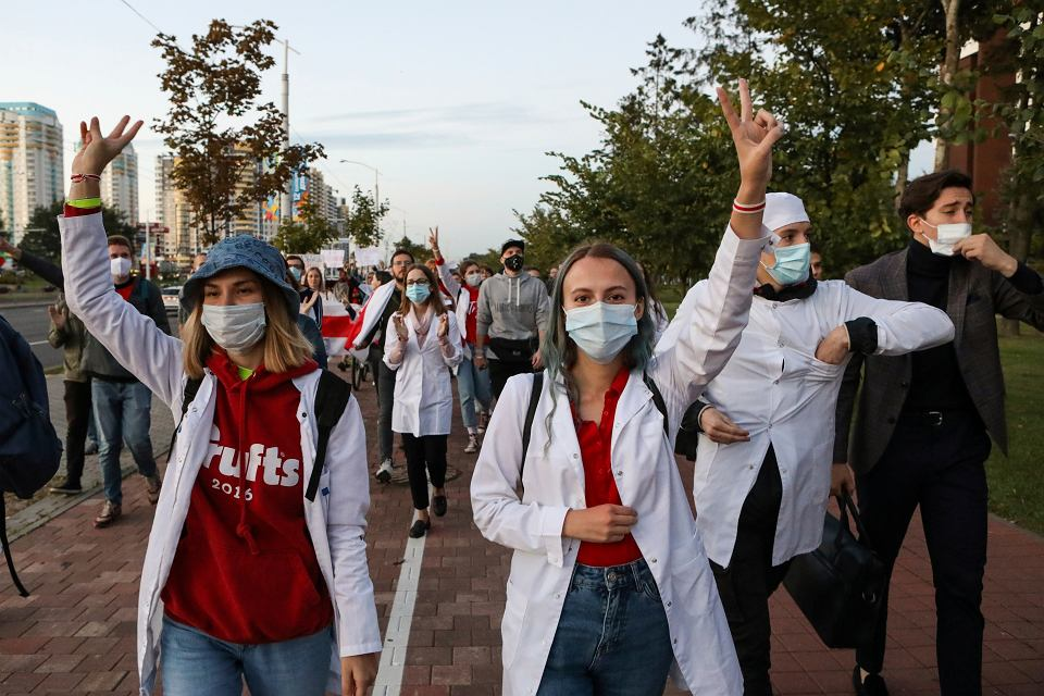 Protest lekarzy w Mińsku, 9 września 2020 r.
