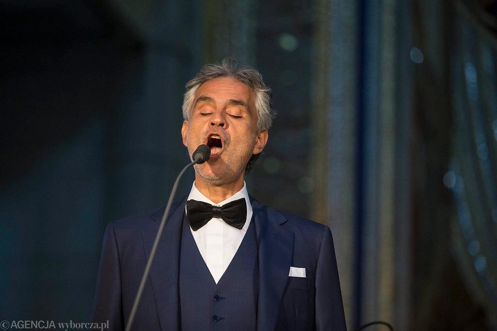 Andrea Bocelli podczas koncertu w Sanktuarium św. Jana Pawła II w Krakowie