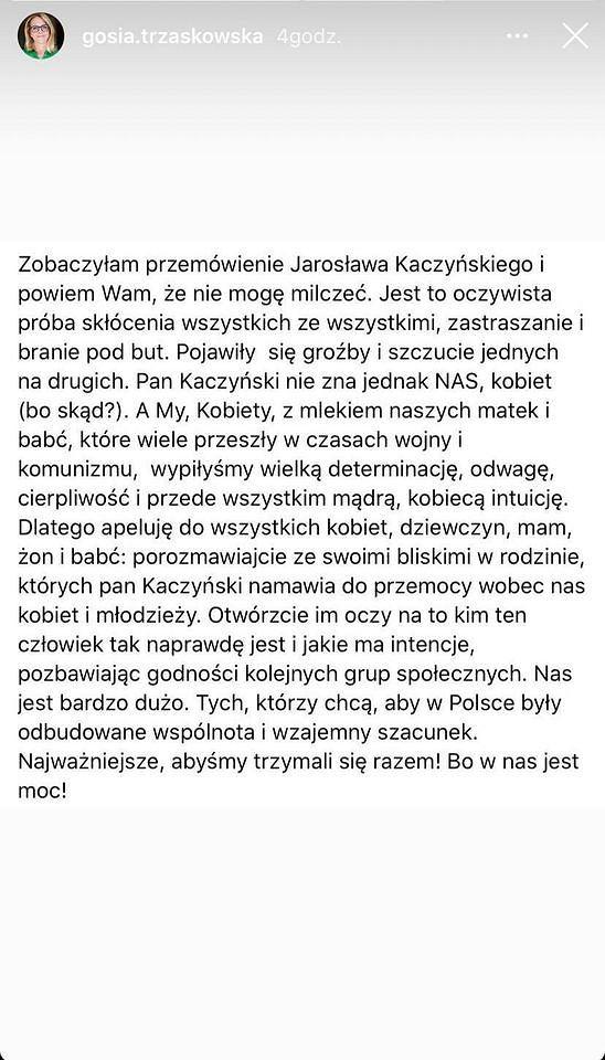 Małgorzata Trzaskowska odniosła się do przemówienia Jarosława Kaczyńskiego. 'Oczywista próba skłócenia wszystkich'