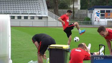 Robert Lewandowski podczas treningu w La Baule